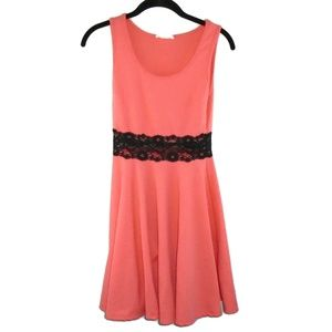 Mini Dress Tank Floral Pink Coral Black Lace Small